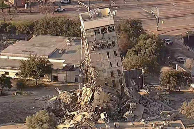 The 'leaning tower of Dallas' has finally been demolished